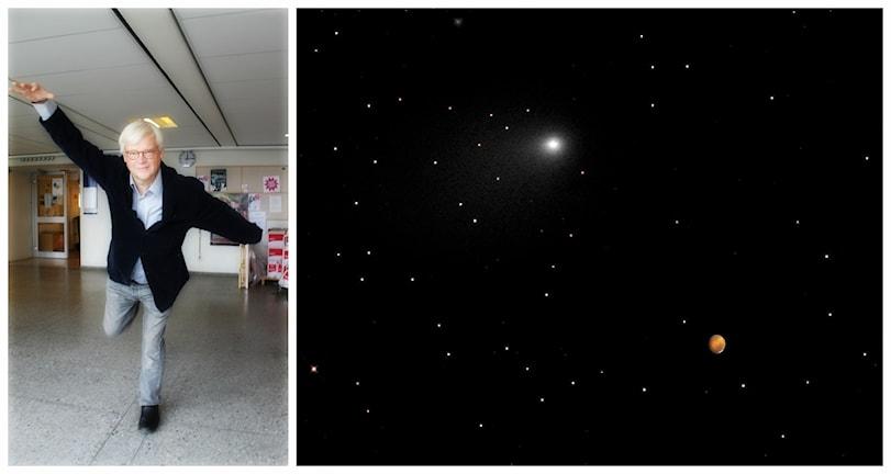 Thomas Nordegren och en komet fotograferad av Nasa. Foto: NASA Goddard Space Flight Center/Flickr/http://bit.ly/10QwRLL/CC BY 2.0