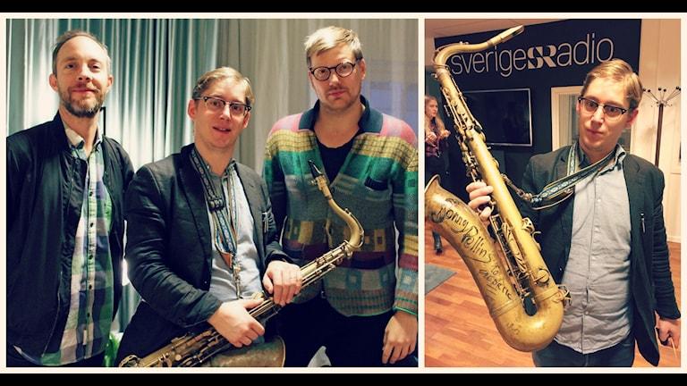 Fredrik Lindborg spelar saxofon och klarinett tillsammans med Martin Sjöstedt på bas och Daniel Fredriksson på trummor i jazzbandet LSD. Foto: Ronnie Ritterland / Sveriges Radio