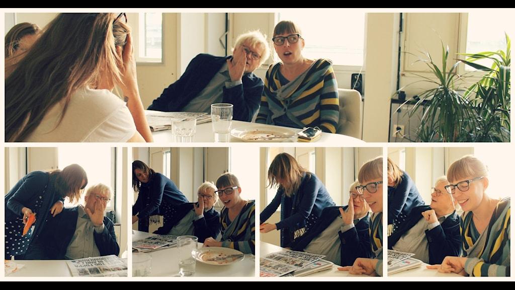 Vad tycker du om skvaller på jobbet? Här skvallrar Thomas Nordegren, Louise Epstein och Maja Åström. Foto: Ronnie Ritterland / Sveriges Radio