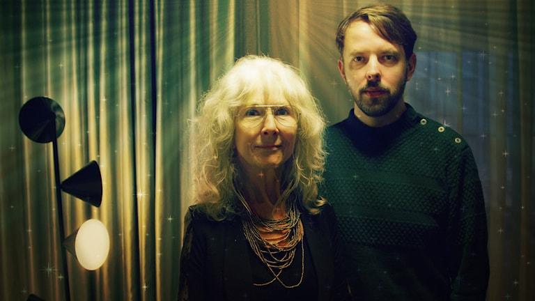 Merit Hemmingsson och trummisen Ola Hultgren. Foto: Ronnie Ritterland / Sveriges Radio