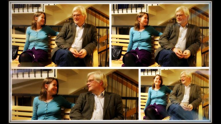 Thomas Nordegren och Louise Epstein funderar över vilka djupa frågor man kan ställa vid middagsbordet. Foto: Ronnie Ritterland / Sveriges Radio