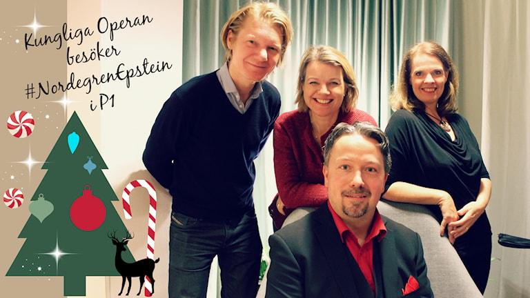 I studion sjunger sångarna Sara Olsson, Katarina Leoson och Jesper Taube ackompanjerade av pianist Johan Ullén. Foto: Ronnie Ritterland / Sveriges Radio