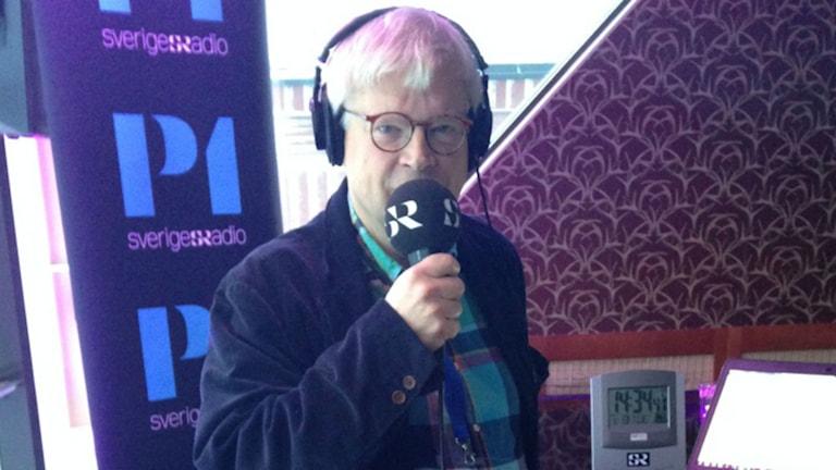 Thomas Nordegren i studion på Folk och försvar i Sälen. Foto: Minna Grönfors Sveriges Radio