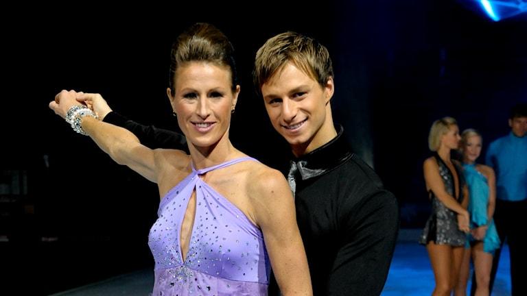 Malin Ewerlöf Krepp och Filip Stiller i TV4:s Stjärnor på is, 2008. Foto: Pontus Lundahl/TT