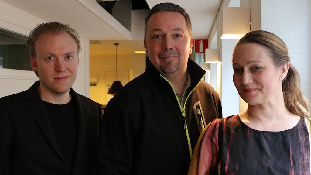 Musiken idag står Jesper Taube, Miriam Treichl och Samuel Schönberg för. Foto: Ronnie Ritterland / Sveriges Radio