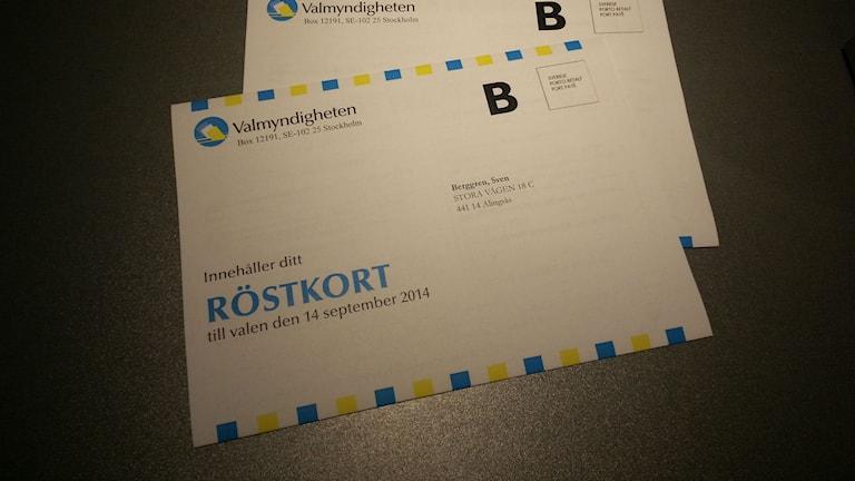 Röstkort från Valmyndigheten .Foto: TT Nyhetsbyrån