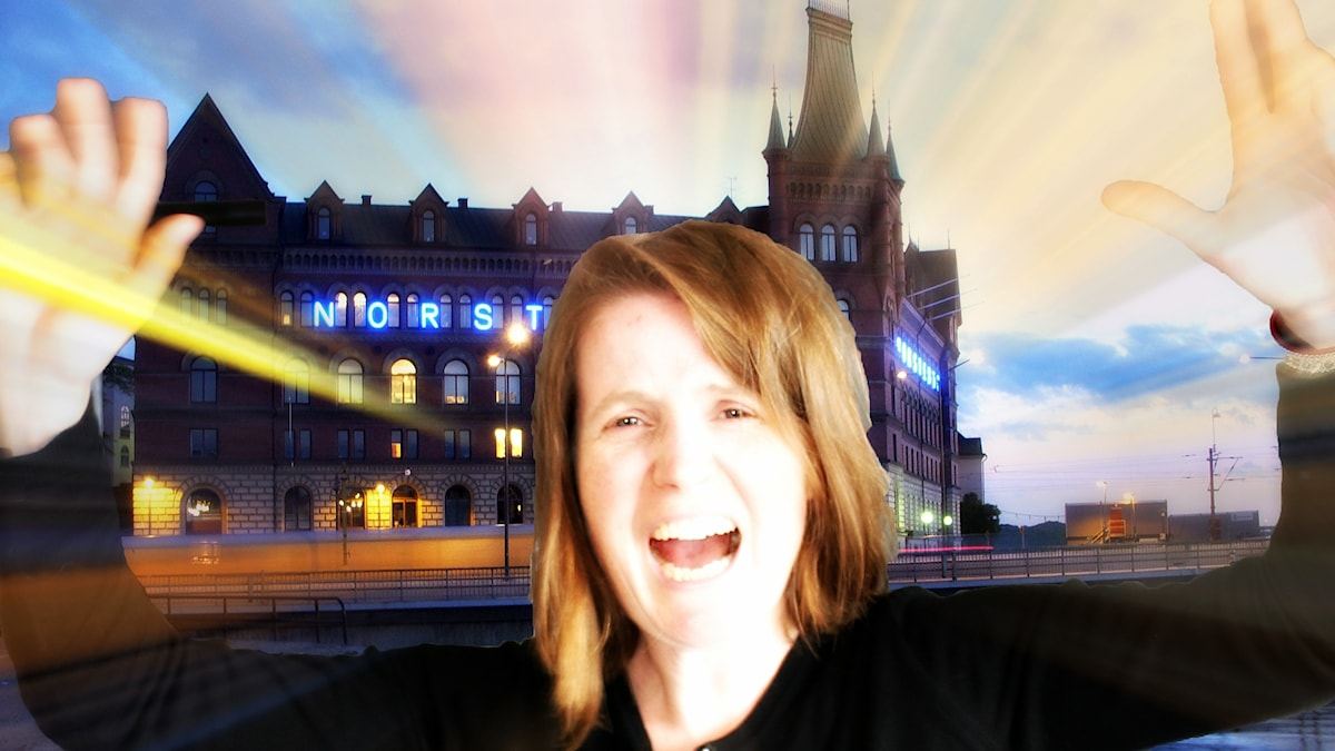 På bilden: Louise Epstein uttrycker sina känslor kring debatten om Norstedts. Foto: Holger.Ellgaard/Wikimedia/http://bit.ly/1WRRsJ3/CC BY 2.0. OBS bilden är ett montage där bilden på Norsteds förlag i kvällsljus av ovanstående fotograf byggts på av Sveriges Radios fotograf Ronnie Ritterland som korrigerat ljus samt klistrat in en frilagd bild på Louise Epstein i förgrunden.