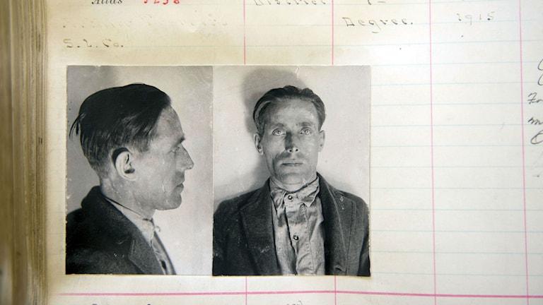 Joe Hill i fängelsedokument från Utahs statsarkiv. Foto: TT