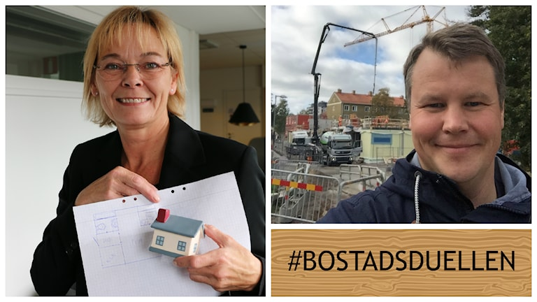 Först ut att debattera i vår nya serie Bostadsduellen är Ewa Thalén Finné, M och Johan Löfstrand, S. Foto: Ronnie Ritterland/ Sveriges Radio och Johan Löfstrand.