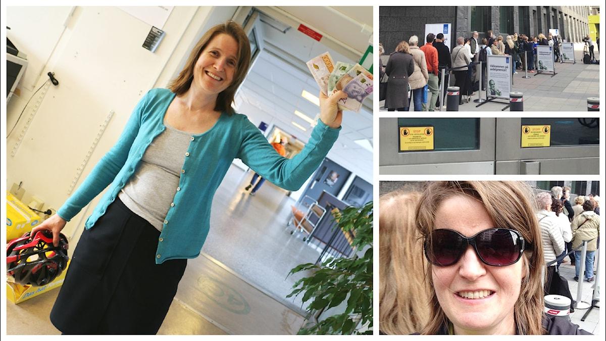 Louise Epstein har varit på Riksbanken och växlat till sig de nya sedlarna. Foto: Louise Epstein och Ronnie Ritterland / Sveriges Radio