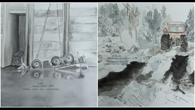 """Två av Emma Trytis verk av de sammanlagt 41 akvareller som illustrerar 41 arbetsplatsolyckor som alla lett till döden i samlingen """"Arbetsmiljöverkets statistik över arbetsolyckor med dödlig utgång 2014"""". OBS Bilderna är beskurna."""