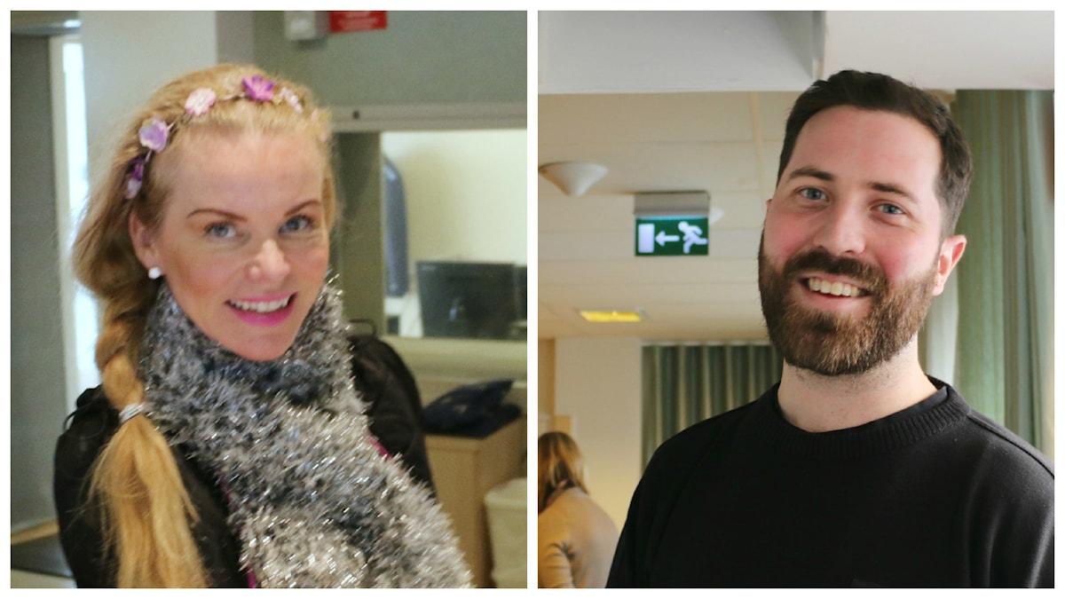 Monica Bergmark, Sveriges Radio-tekniker och Johan Norling, dj. Foto: Estrid Bengtsdotter/Sveriges Radio