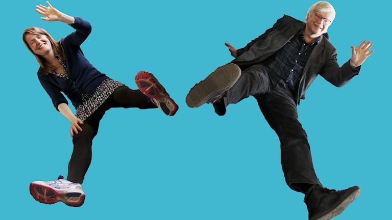 Thomas Nordegren kunde inte hålla sig utan var tvungen att testa att göra en svensk version av Kinas nya propagandavideo inför Kinas nya ekonomiska femårsplan. Foto: Ronnie Ritterland / Sveriges Radio