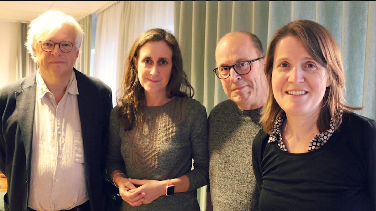 Aftonbladets tv-chef Jan Scherman och SVT-chefen Hanna Stjärne gästar Nordegren & Epstein i P1. Foto: Ronnie Ritterland / Sveriges Radio