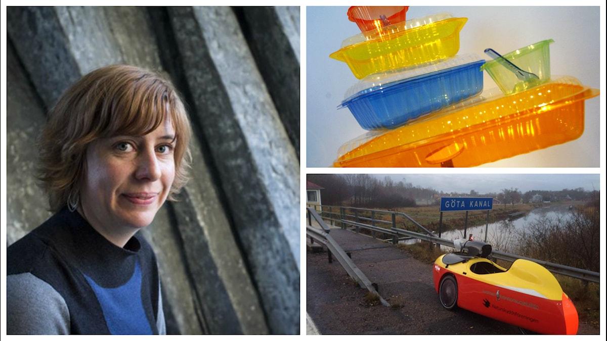 Katja Magnusson, foto: Micke Grönberg/Sveriges Radio; plastförpackningar, foto: Lars Pehrsson/SvD/TT; velomobil, foto: Urpo Taskinen. Kollage Estrid Bengtsdotter