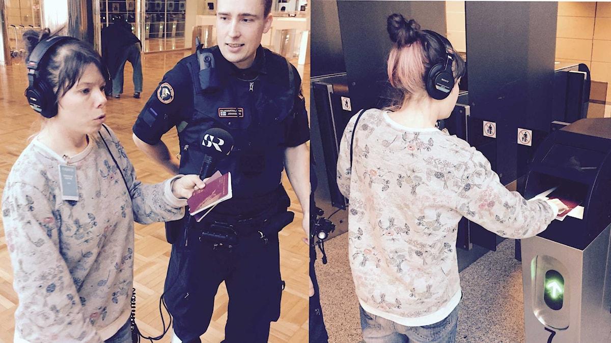 Sveriges Radios korrespondent i Helsingfors testar biometrisk teknik i passkontrollen. Foto:SR