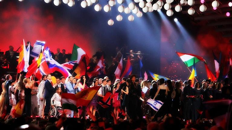 Eurovision Song Contest - artister på scen inför finalen 2015 i Wien. Foto: Ronnie Ritterland / Sveriges Radio