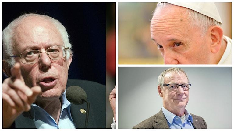 70 plus och maktfaktorer: Bernie Sanders, påven och Sten Heckscher. Foto: John Minchillo & John Bazemore/AP/TT, Henrik Montgomery/TT och Tomas Oneborg/SvD/TT