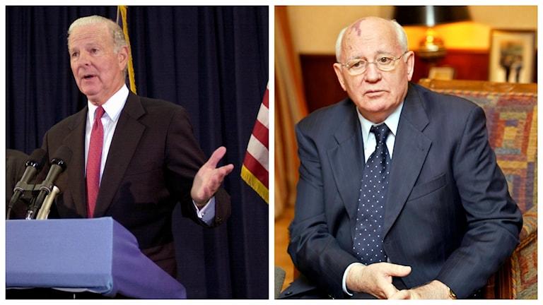 James Baker och Michail Gorbatjov. Foto: Chris O'Meara/TT/AP  och Misha Japaridze/TT/AP