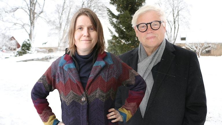 Louise Epstein och Thomas Nordegren i radiohusparken januari 2017.