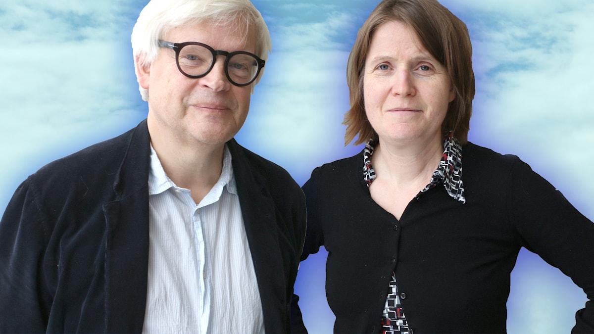 Thomas Nordegren och Louise Epstein. Louise håller armarna i sidorna och båda tittar in i kameran med bestämd blick.