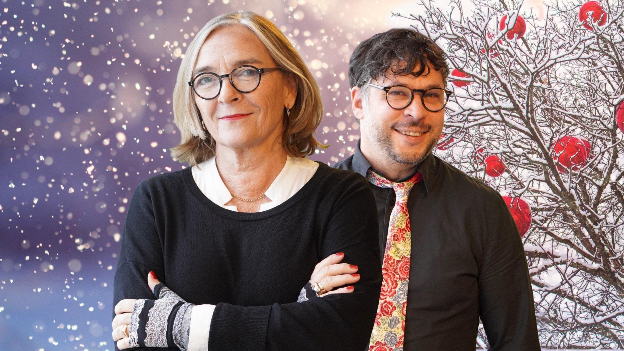 Hélène Benno och Martin Wicklin står i ett vinterlandskap.
