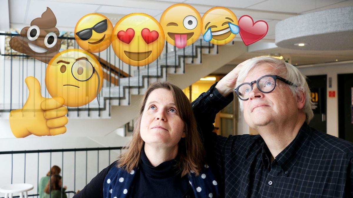 Louise Epstein och Thomas Nordegren under ett moln av emojis