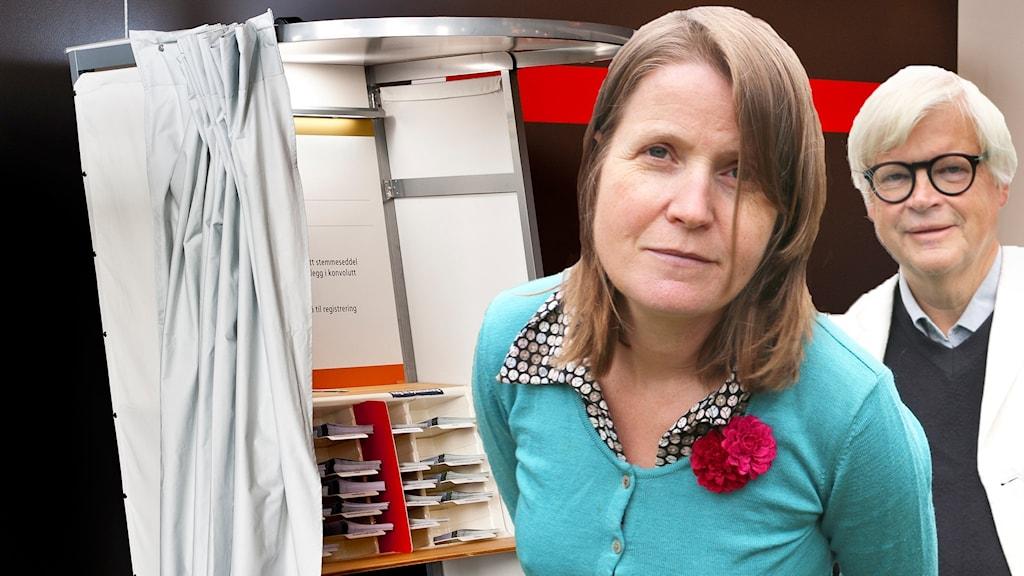 Thomas Nordegren & Louise Epstein är inredigerade som att de stod i ett norskt valbås. Bilden är alltså ett montage.