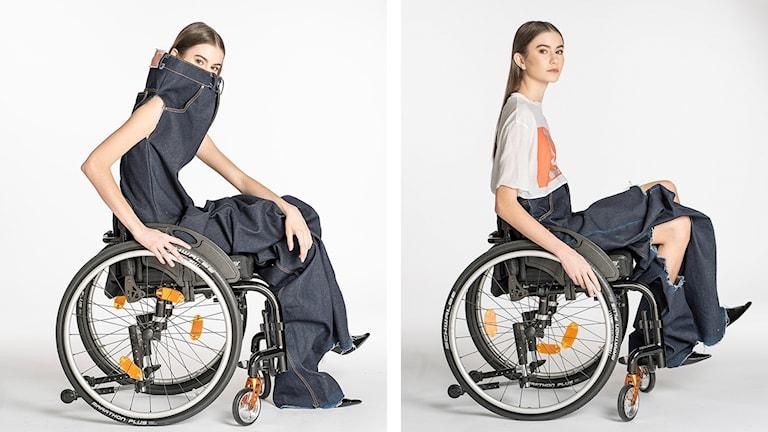Bilder på jeans ur modedesignern Louise Linderoths kollektion med jeans anpassad för personer som sitter i rullstol.