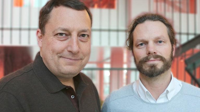 Överläkaren Mathias Sjöberg och Per Edquist, polisinspektör kommer till studion.