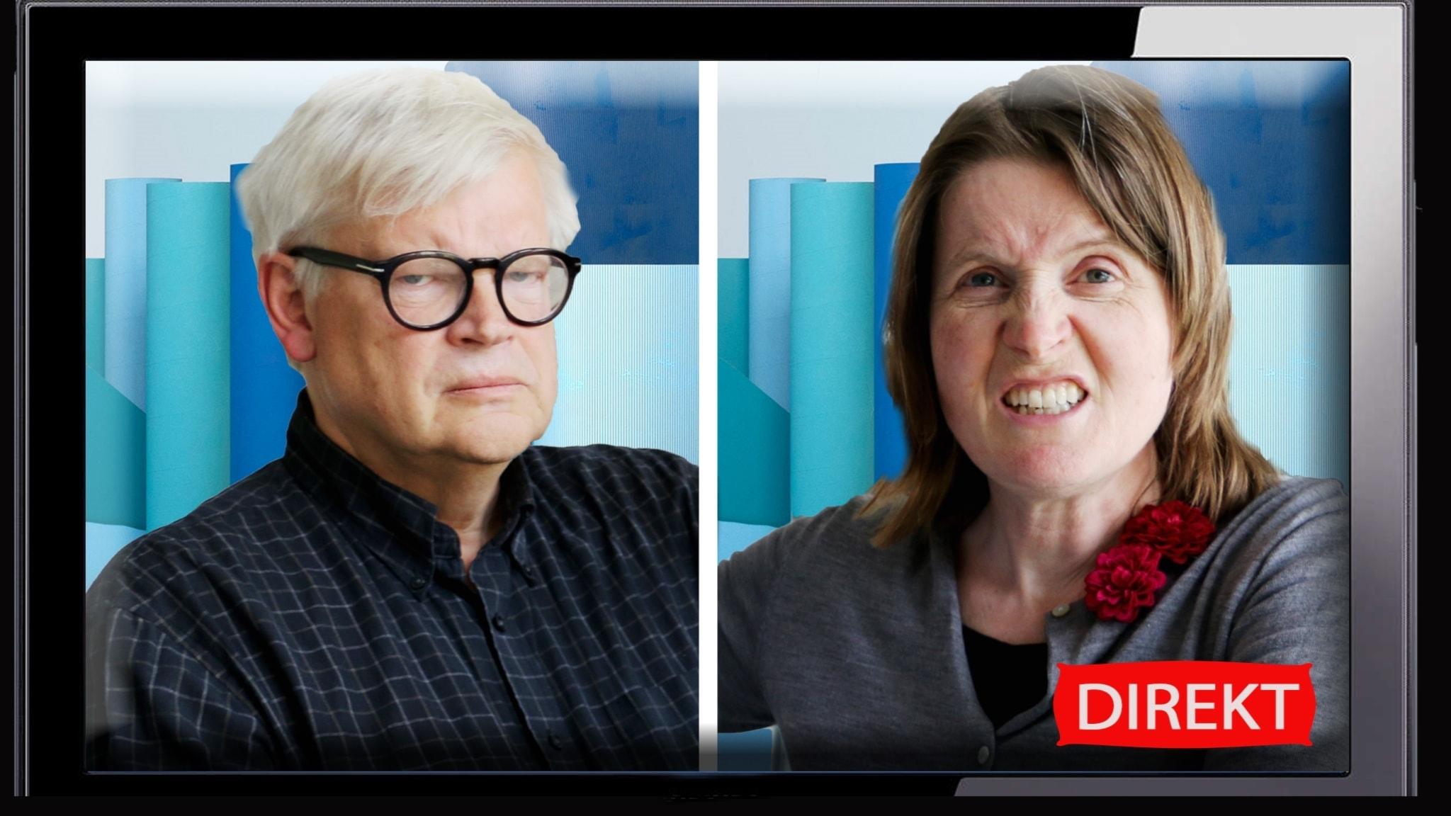 Thomas Nordegren och Louise Epstein i ett bildmontage som illustrerar nattens debatt mellan Hillary Clinton och Donald Trump.