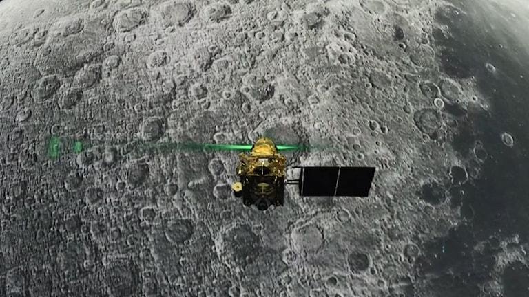 Månlandaren Vikram strax innan den var planerad att landa nära månens sydpol.
