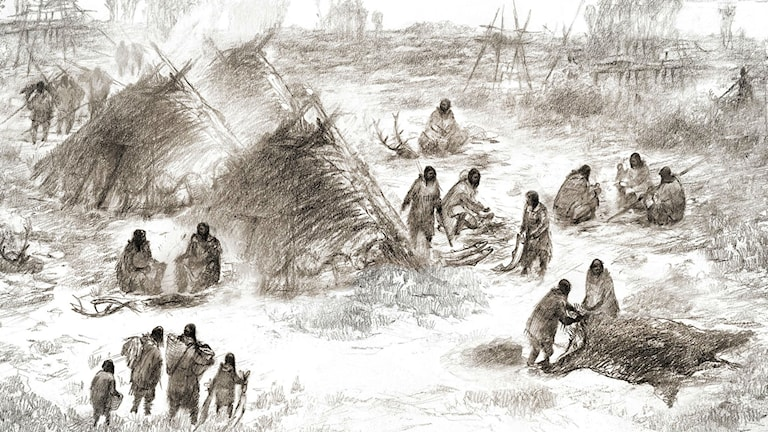 Tecknad bild av hur det kan ha sett ut på en plats i Alaska där 11 500 år gamla kvarlevor av ett litet barn hittats.