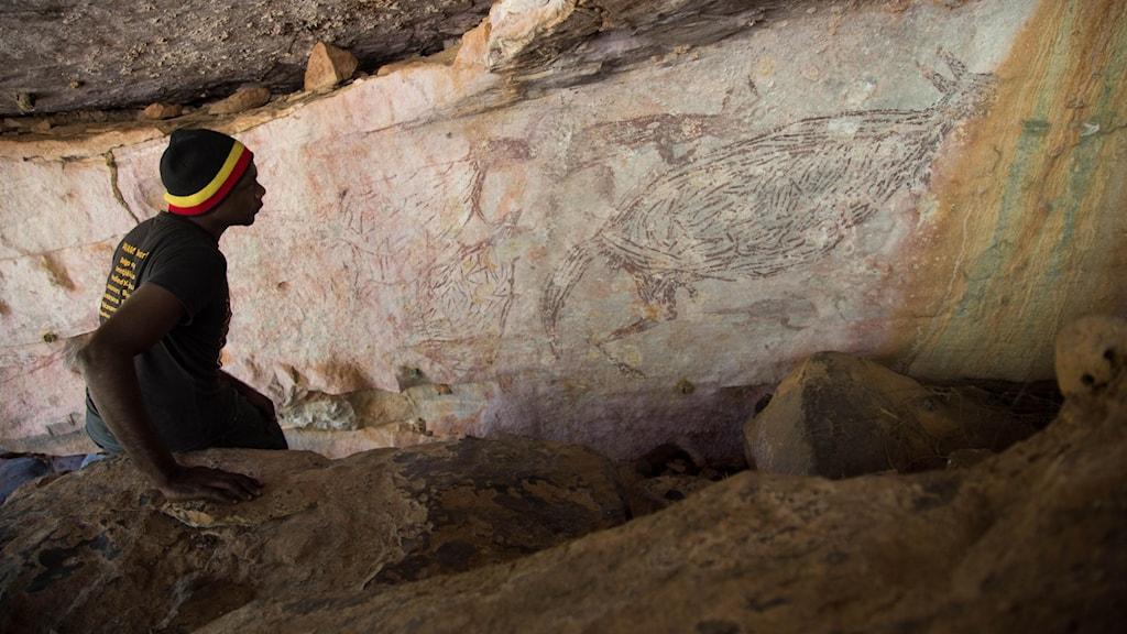 På väggen i en grotta ser man bilden av en gammal grottmålning föreställande en känguru. En man sitter på huk och tittar på målningen.