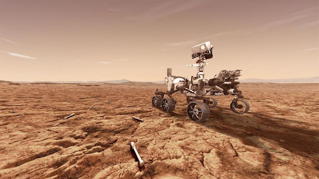 En konstnärs bild på Nasas rover Perseverance på planeten Mars.