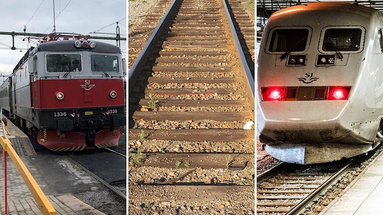 Tredelad bild: till höger ett rödvitt SJ-tåg, i mitten räls och till höger fronten på ett X2000-tåg.