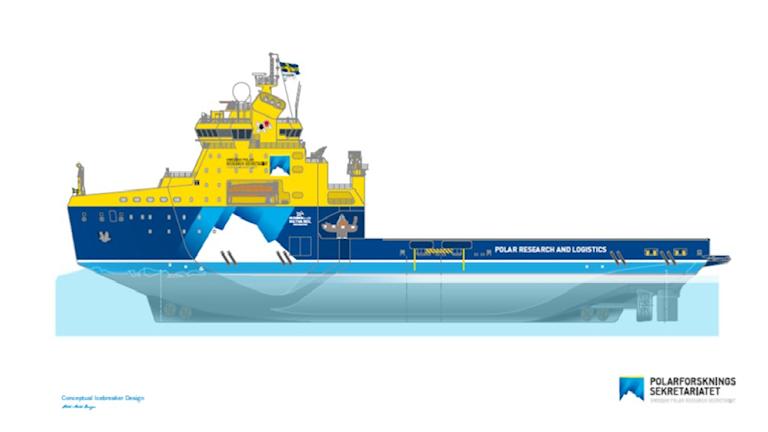 Skiss över  framtida isbrytare och forskningsfartyg