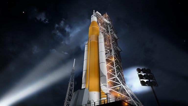 En konstnärs bild av hur Nasas kommande raketuppskjutningssystem kommer att se ut.