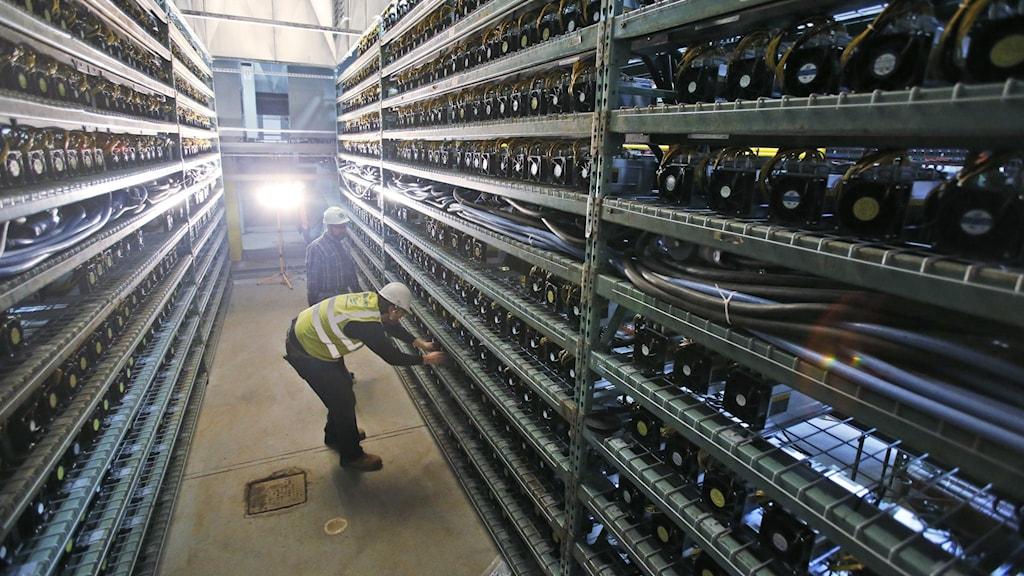 En gång kantad av höga hyllor fulla med datorer som utvinner bitcoin.