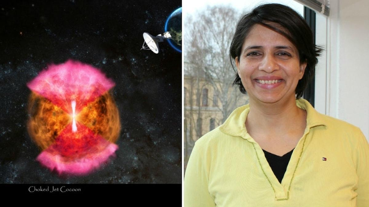 Collage med två bilder. Den till vänster föreställer strålning som strålar ut från en krock mellan två neutronstjärnor. Den andra är Poonam Chandra som är gästprofessor i astronomi vid Stockholms universitet.