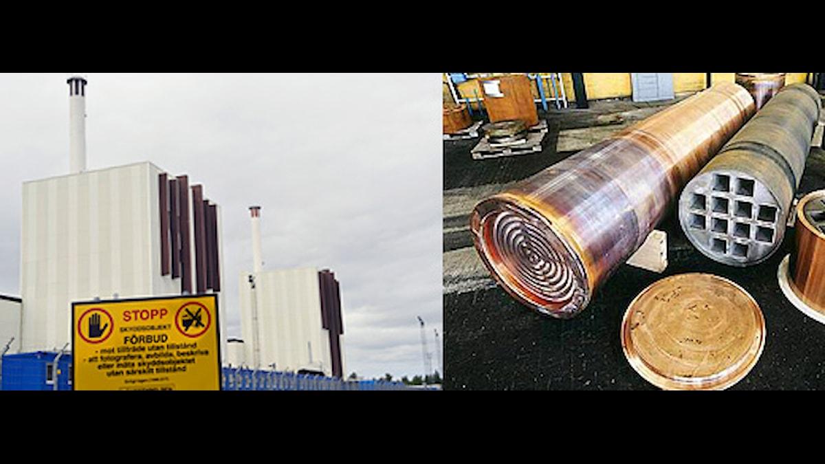 Bildmontage av ett foto på kärnkraftverket Forsmark (Foto: Scanpix) och en bild på kopparkapslar (Foto: SKB).