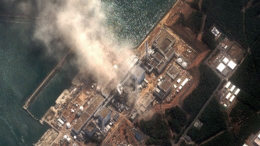 Satelitbild över skadorna på det Japanska kärnkraftverket Fukushima. Foto: Digital Globe/Scanpix