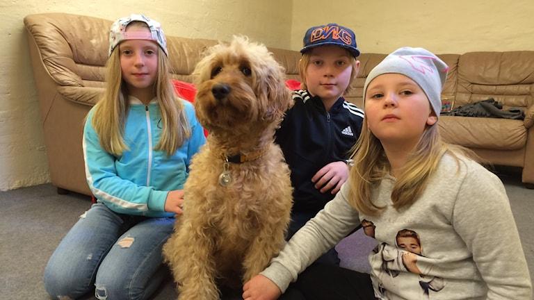 Tre elever tillsammans med hunden Agnes.