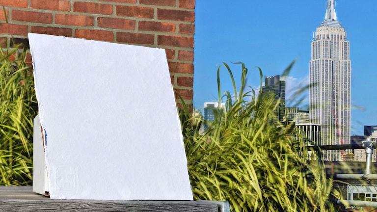 En provyta målad med en färg som kyler ner byggnader eftersom den reflekterar det mesta av solljuset.