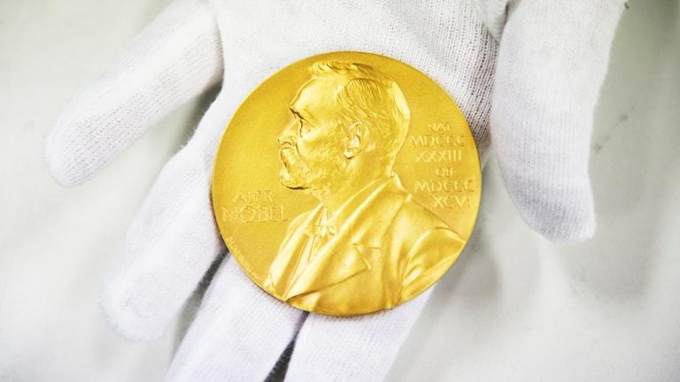 Nobelmedaljen ligger i handskklädd hand.