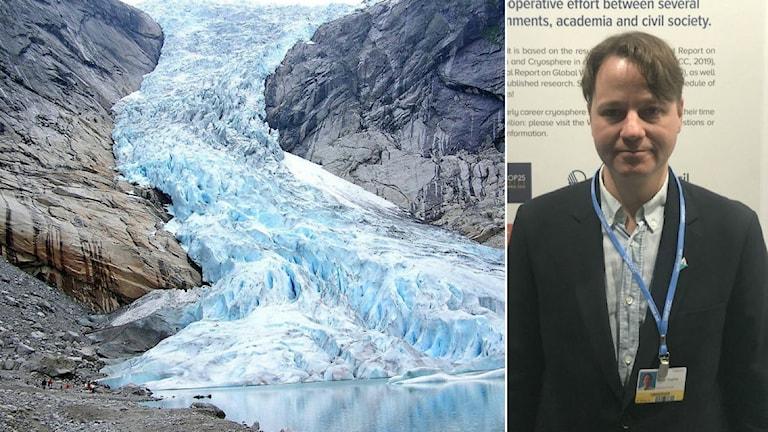 Collage med norska Briksdalsglaciären och permafrostforskaren Gustaf Hugelius på plats under klimatmötet i Madrid.