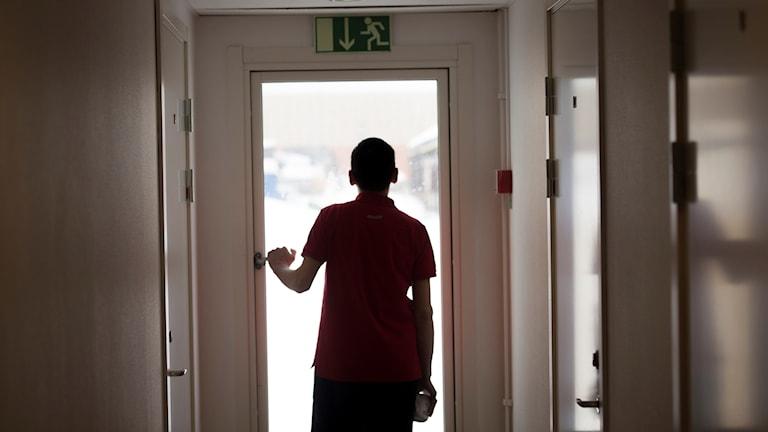 Svart siluett av en pojke som tittar ut genom ett glasfönster i dörr med utgångsskylt ovanför.