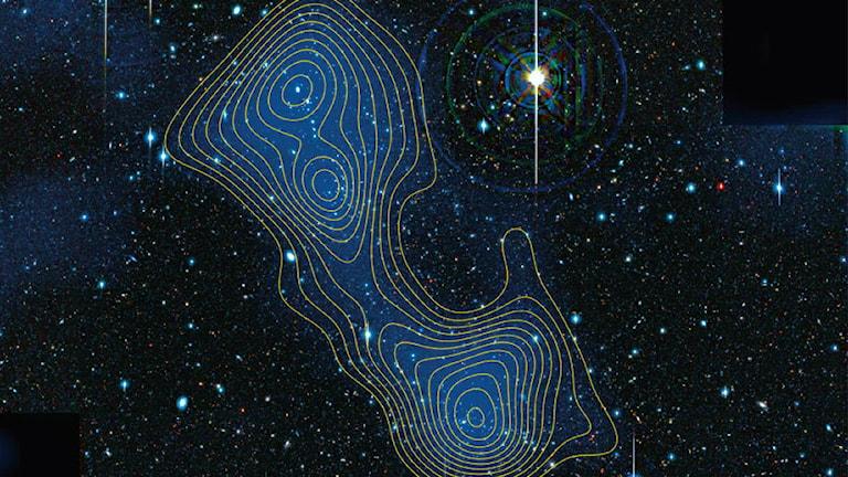 Bild av konturer av mörk materia mot bakgrund av stjärnor och galaxer. Bild: Nature.
