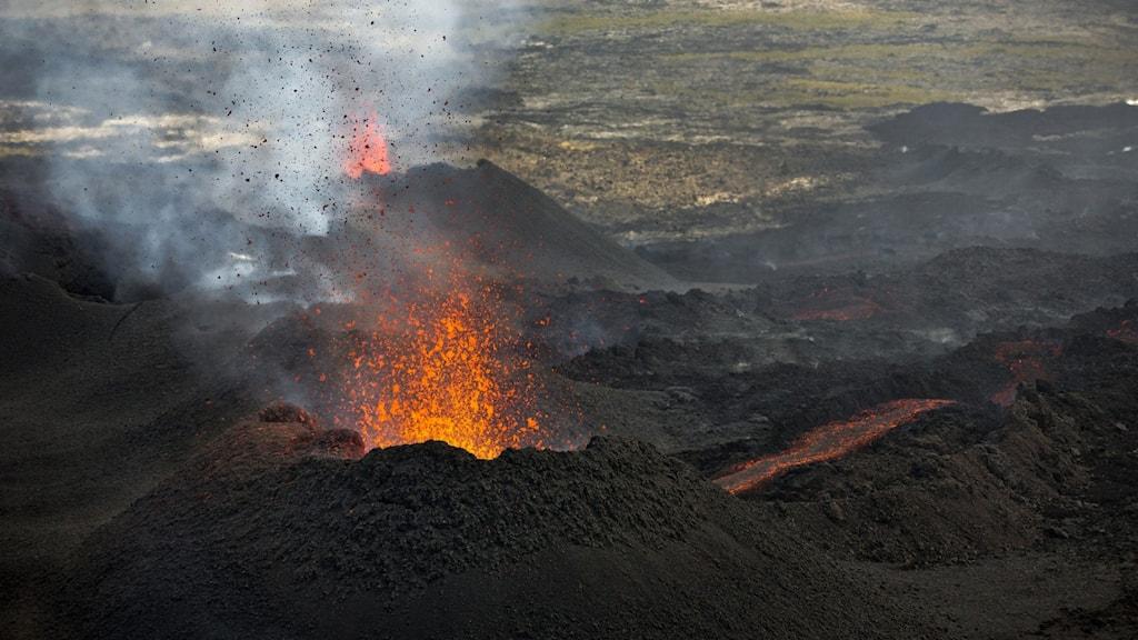 Vulkanutbrott Island lava sprutar upp.