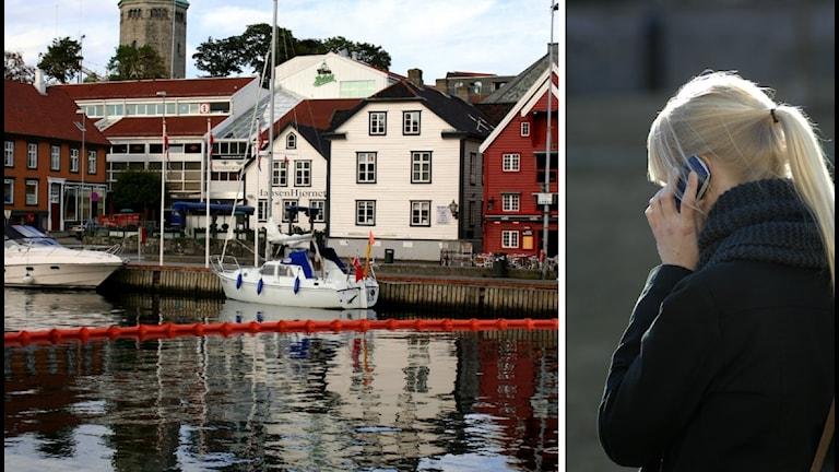 delad bild Stavanger och flicka som ringer i telefon
